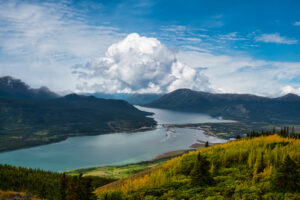 Beautiful View of a small Touristic Town, Carcross